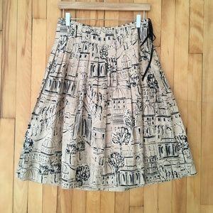 Vintage Cotton A-line Skirt Scenic Print Size 2